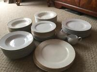 DINNER PLATES. TEA PLATES. SOUP BOWLS. WHITE WITH GOLD TRIM