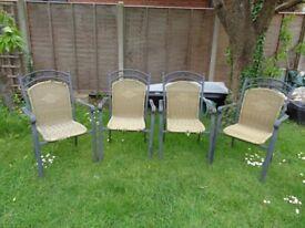 4 x Lightweight stackable metal framed garden chairs.