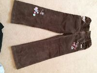 Brown cordroy trousers with embroidery age 5-6 (M&S)