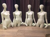 Set of four mannequin busts with arms