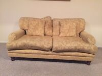 Vintage Style Sofa 3 Seater Gold with Square Cushions