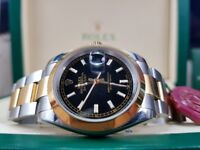 New boxed with papers 36mm two tone bracelet black dial Rolex Date Just watch Automatic sweeping