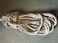 26 Metres of 3 strand white Rope - 18mm Dia