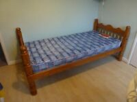 Single bed, 3' strong, wooden, exc cond, inc mattress