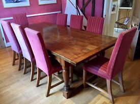 Cherry Wood Dining Table (8ft x 4ft) with 8 x Upholstered High Back Chairs