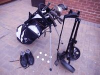 Full set of RH clubs+bag+balls+trolley+size 8 mens golf shoes