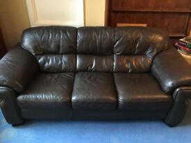 Dark brown leather sofa - Barker and Stonehouse, good condition