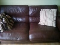 2 and 3 seater john lewis brown leather sofas for sale