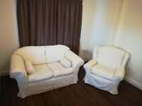 Smart white/cream 2 seater sofa and chair (washable covers)