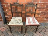 Two quirky dining chairs. Excellent upcycle project.