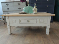 Shabby chic pine wood coffee table with drawer