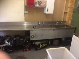 Double Commercial Sink With Decarboniser In One Side With Large Drainer Very Large 327 W x 72 x 90 H