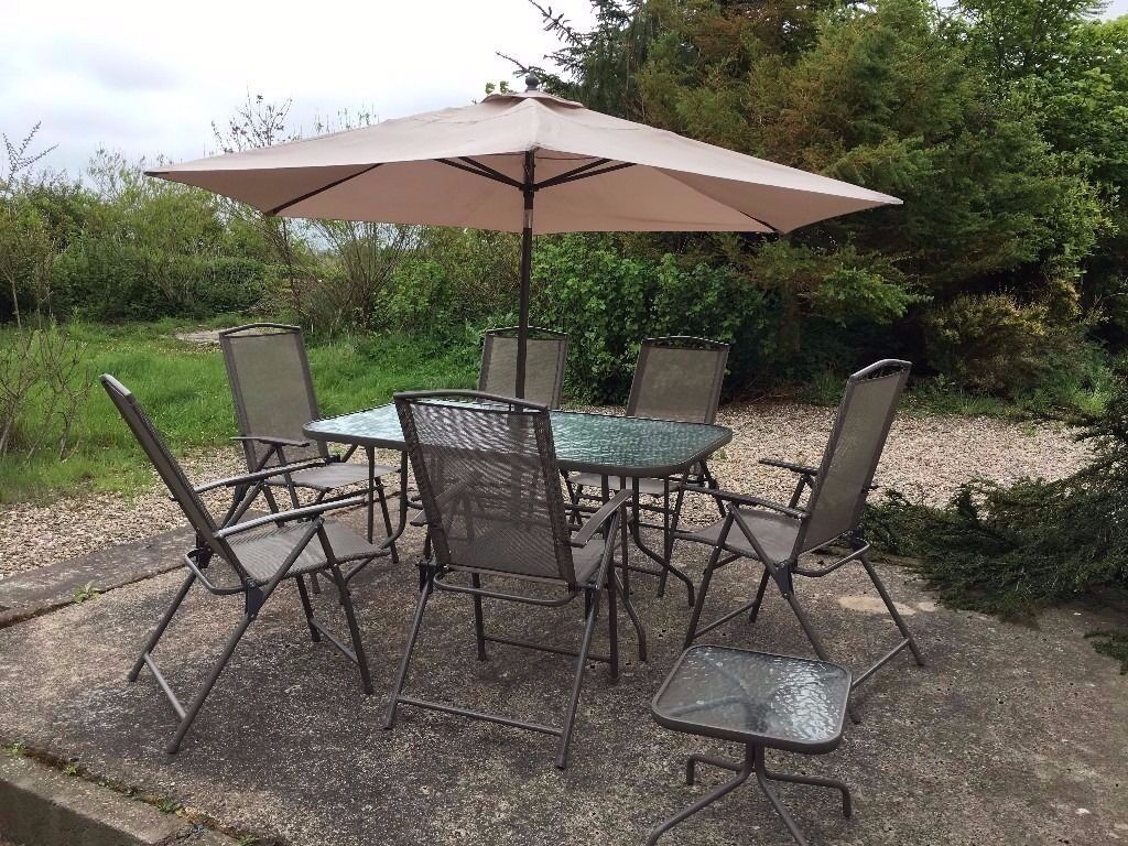8 piece garden patio set table and chairs outdoor garden furniture parasol - Garden Furniture 8 Piece