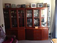 Two Glass Fronted Wall Cabinets for sale either as a pair or seperately
