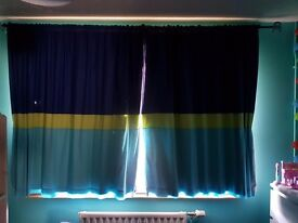children curtains + pendant shade + blue curtains pole with cars