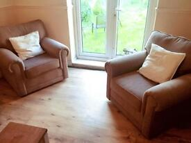 John Lewis sofa bed with two arm chairs 6months