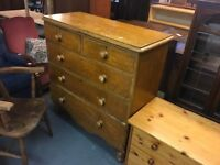 ANTIQUE PINE FIVE DRAWER CHEST.(Delivery available for a small fee )