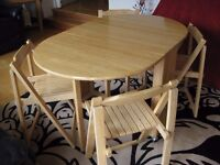Drop-Leaf Dining Table with Storage for Four Chairs