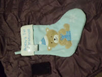 Babies First Christmas Stocking blue brand new