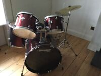 Fantastic tornado red drum set, sadly outgrown. New high hat, as new.