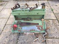 Carpenter's Wooden Toolbox *REDUCED* With Tools, Hand Planes, Saws, Hand Drills