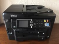 Epson Workforce WG-3640 WiFi printer with spare ink cartridges