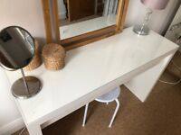 Ikea Malm makeup dressing table, mirror and stool
