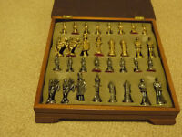 Chess Set with metal medieval figures in presentation storage box