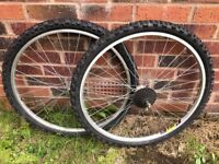 """Rear and Front 26"""" Mountain Bike Wheels + Tyres"""