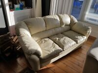 3 seater cream leather sofa 2meter long