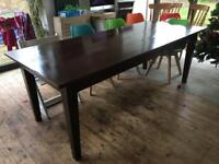 """!REDUCED! Antique solid French oak 4 plank wide dining table 7ft 3"""" x 3ft farmhouse"""