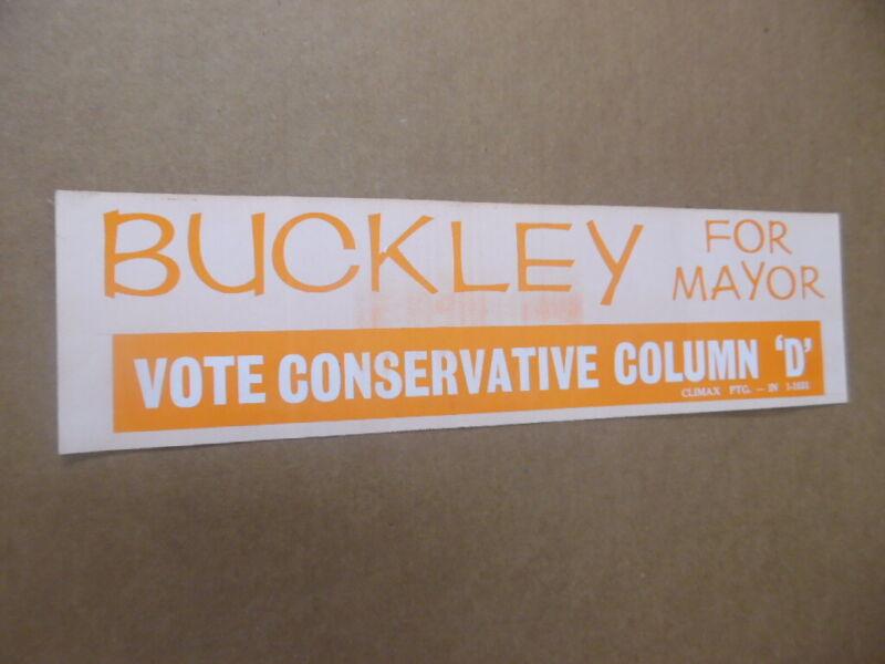 1965 William F Buckley Jr New York City Mayor Campaign Bumper Sticker Vintage VG