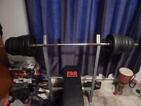 weight bench with weights, and curl bar with weights