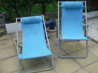 Turquoise garden chairs
