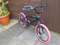 """Assassin BMX Bike, 20"""" Black Alloy wheels with Diamondback tyres. 11"""" Matt Black frame,"""