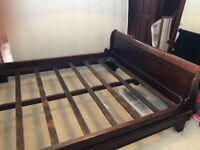 Solid wooden sleigh bed king size