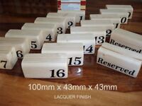 wood number menu holders x1