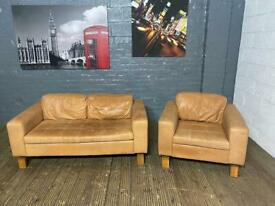 Tan leather 2 x 1 sofa set