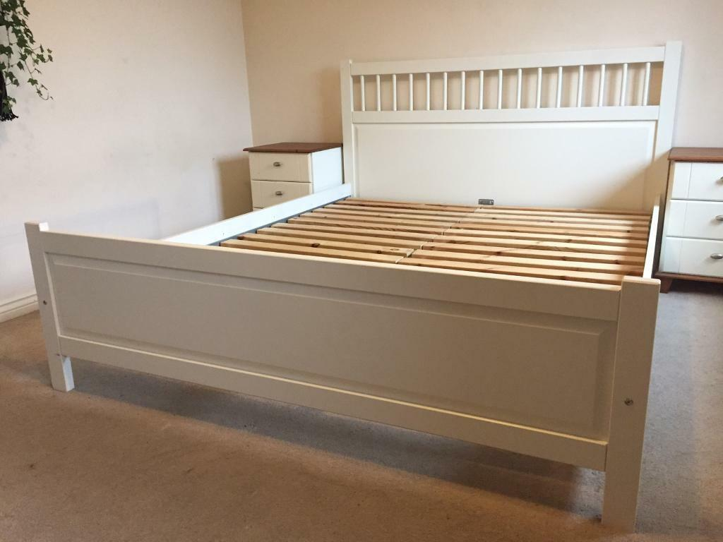 ikea hemnes white king size bed 200 x 150cm in borehamwood hertfordshire gumtree. Black Bedroom Furniture Sets. Home Design Ideas