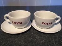 Pair of Costa Coffee Cups and Saucers