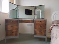 Stag Minstral Dressing Table up-cycled, chic, Vintage, Antique, Modern, Grey and Natural refurbished