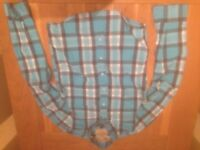 Hollister men's turquoise plaid shirt (large; slim fit) (never worn) JUST REDUCED