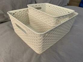 3 White Baskets