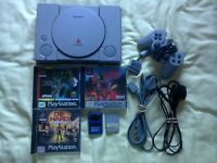 Sony PS1 Complete Set Up With 4 Games