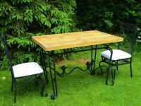 Large Vintage SOLID IRON garden table and chairs