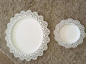 Cream decorative plates