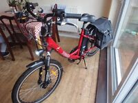 freego hawk electric bike 36v step though, with panniers, lights etc