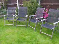 4 High Back Fold away Garden chairs