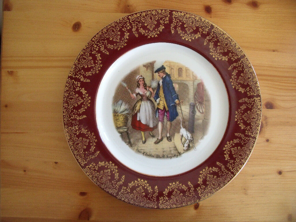 Very decorative Cries of London - 'Who'll Buy My Lavender' plate,banded with burgundy & gold.£6 ovno