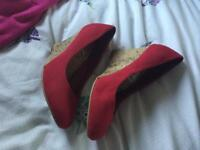 Red Suede New Looks Wedges - Size 7